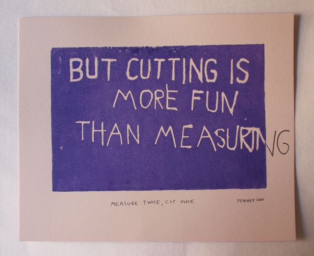 measure twice  cut once woodcut for sale  u2013 jeff peachey