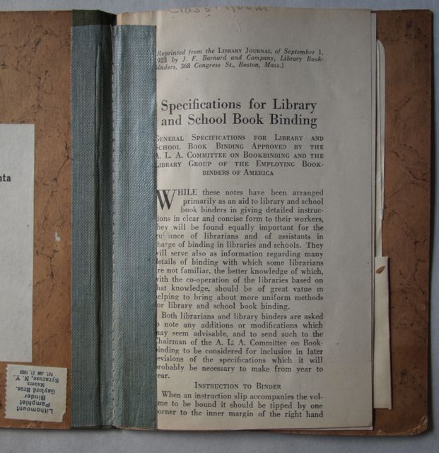 Specifications For Library And School Book Binding