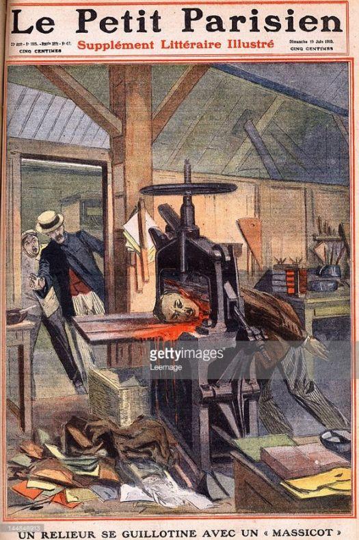 """Suicide d'un relieur qui se guillotine avec un massicot dans l'imprimerie rue de l'Amiral Roussin a Paris. Gravure. Une du journal """"Le petit parisien"""" le 19/06/1910. Collection privee. ©Lee/Leemage"""